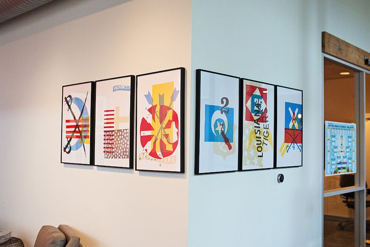 Pops of color with framed artwork.  A Look Inside the Design Team at Happy Cog « Thoughts on users, experience, and design from the folks at InVision.