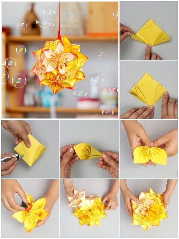 Wonderful #DIY Origami kusudama flower ball #crafts