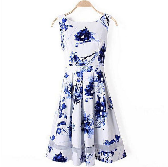 Blue and White Floral Dress AX5402ax
