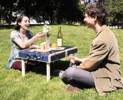 Turn an old suitcase into a small picnic table/basket. Great gift idea for a young newlywed couple.
