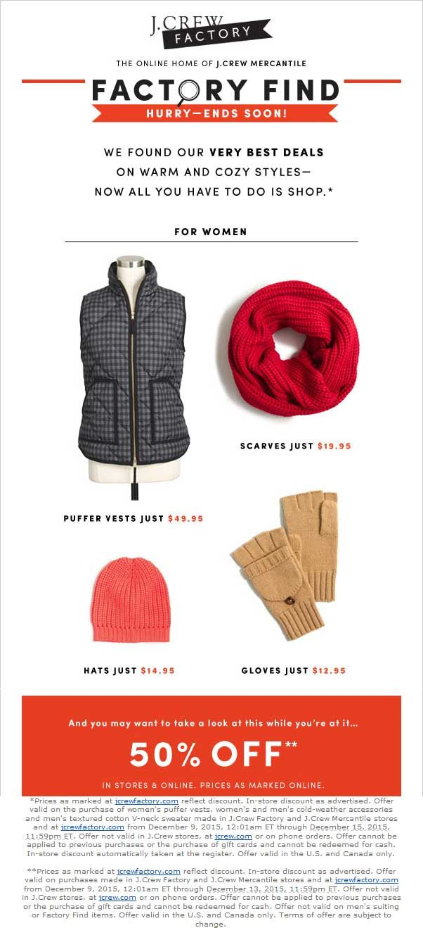 Pinned December 10th: Extra 50% off at #J.Crew Factory ditto online #coupon via The #Coupons App