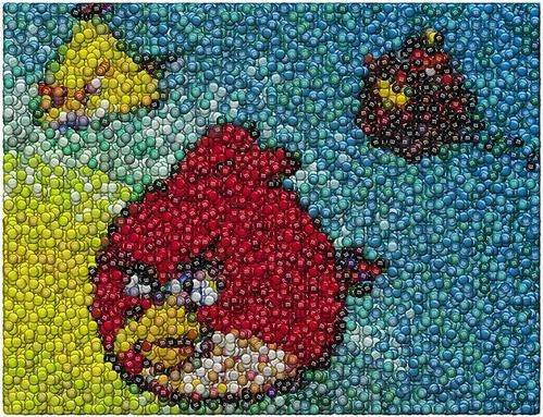 angry birds en puntillismo