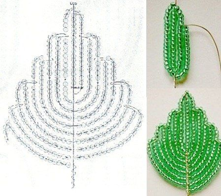 French Beaded Wire Leaf Scheme. Схемы бисерных деревьев, цветов,и..