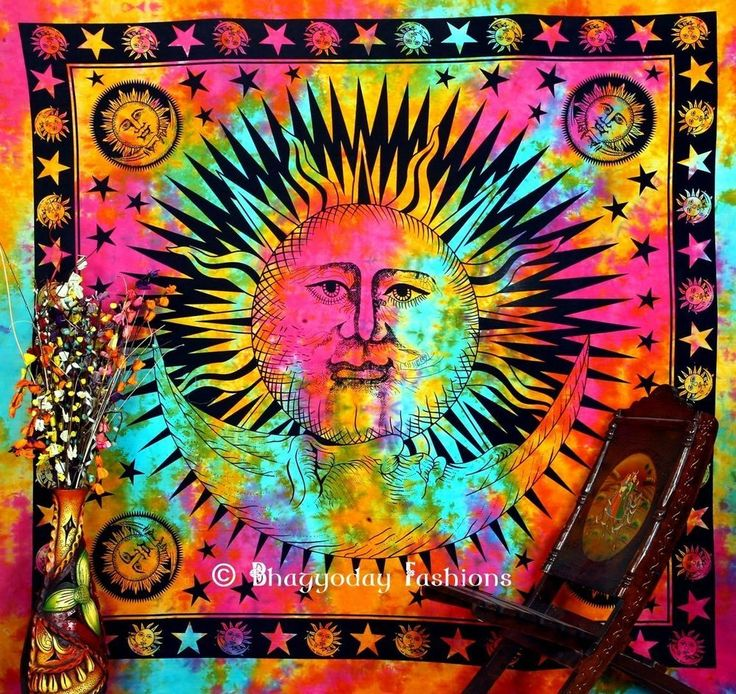Sun Moon Indian Hippie Tapestry Indian Wall Hanging PsychedelicTie Dye Tapestry #Unbranded
