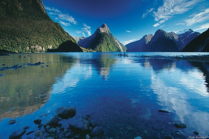 The dramatic Milford Sound with Mitre Peak in the center. Credit: Tourism New Zealand, Rob Suisted