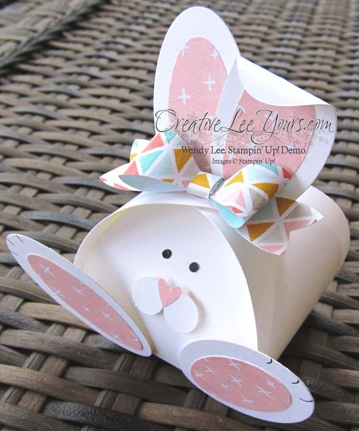 Today I am sharing this super sweet Easter bunny I made using the curvy keepsake box. How stink-in cute! To make this super cute bunny start with your curvy keepsake die and whisper white cardstock…
