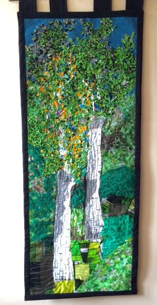 Birch. The patchwork and confetti technic; 43 x 101 cm.