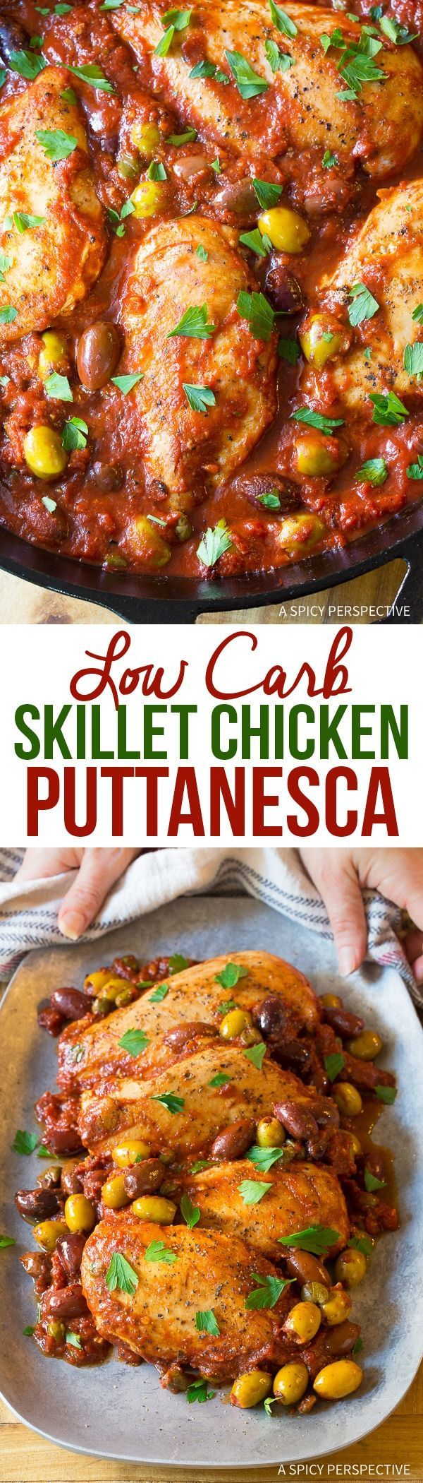 Skillet Chicken Puttanesca Recipe - A simple rustic Italian meal with briny olives and tomatoes. This low carb recipe is easy bright and zesty! via @spicyperspectiv