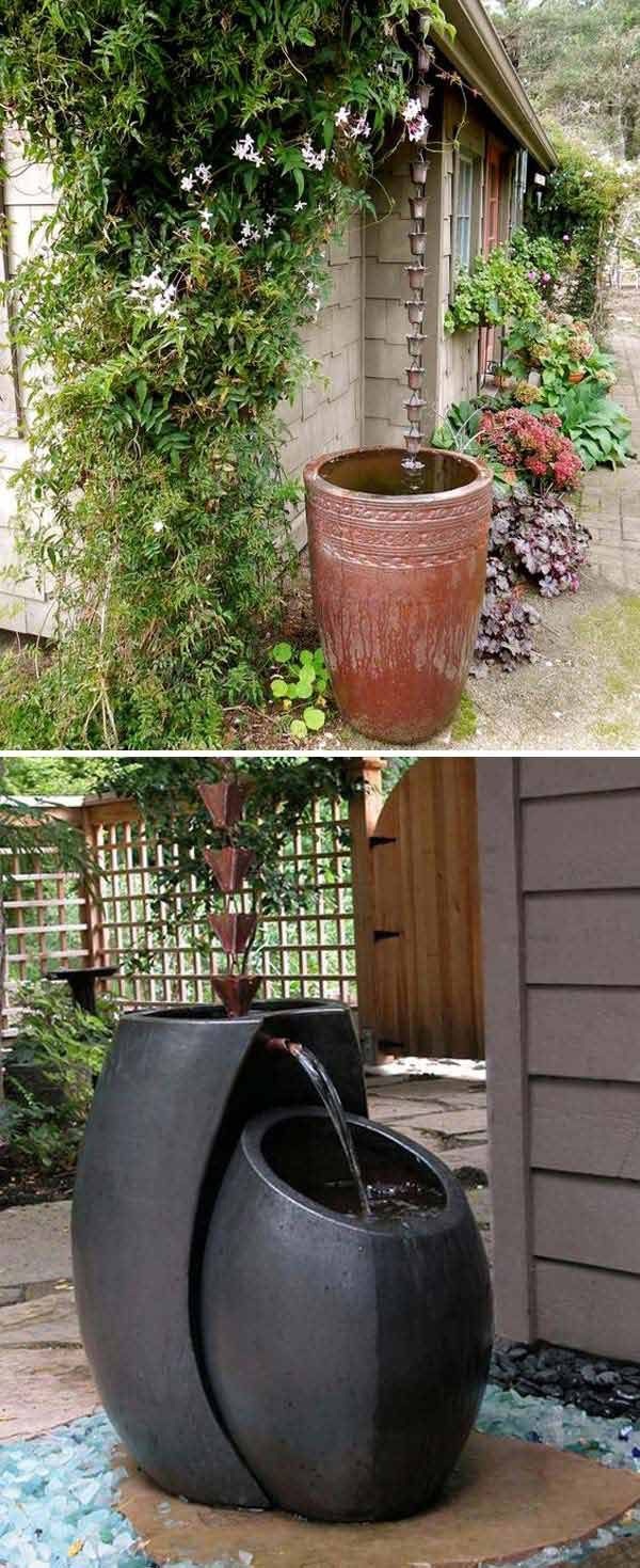 2. Create a rain chain into a rain barrel.