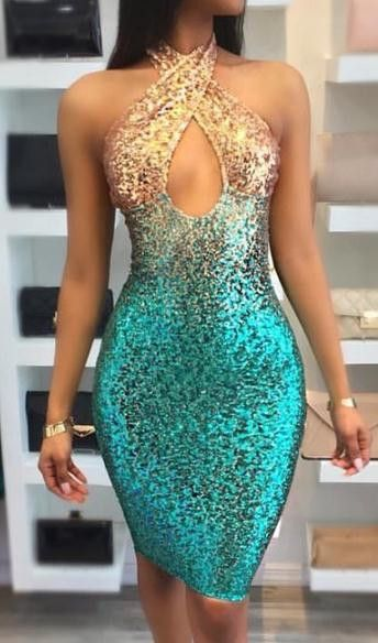 Sequinned Celebrity Boutique Colorful Bandage Dress