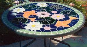178 best glass garden art images on pinterest stained for Koi pool table