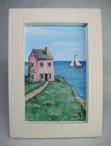 'Seaview House' Folk Art Style Framed Original Painting - £14.50 at…