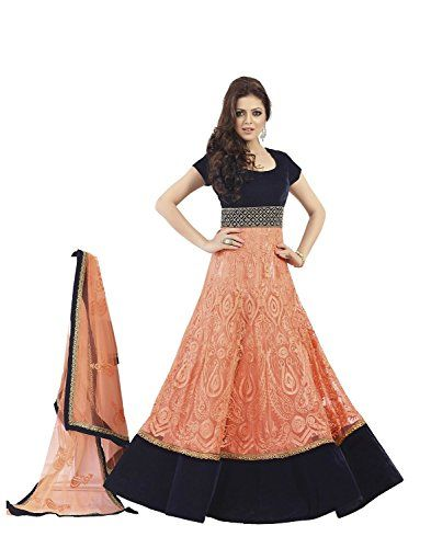 This Madhubala Peach Net Anarkali Suit by Brides Galleria is nicely designed with sequins, pearls, embroidery work and border patch work. Shantoon bottom and faux chiffon dupatta comes along with this to add the glam.