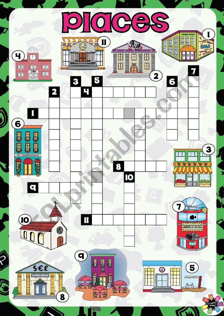 PLACES in Town CROSSWORDS worksheet Worksheets, English