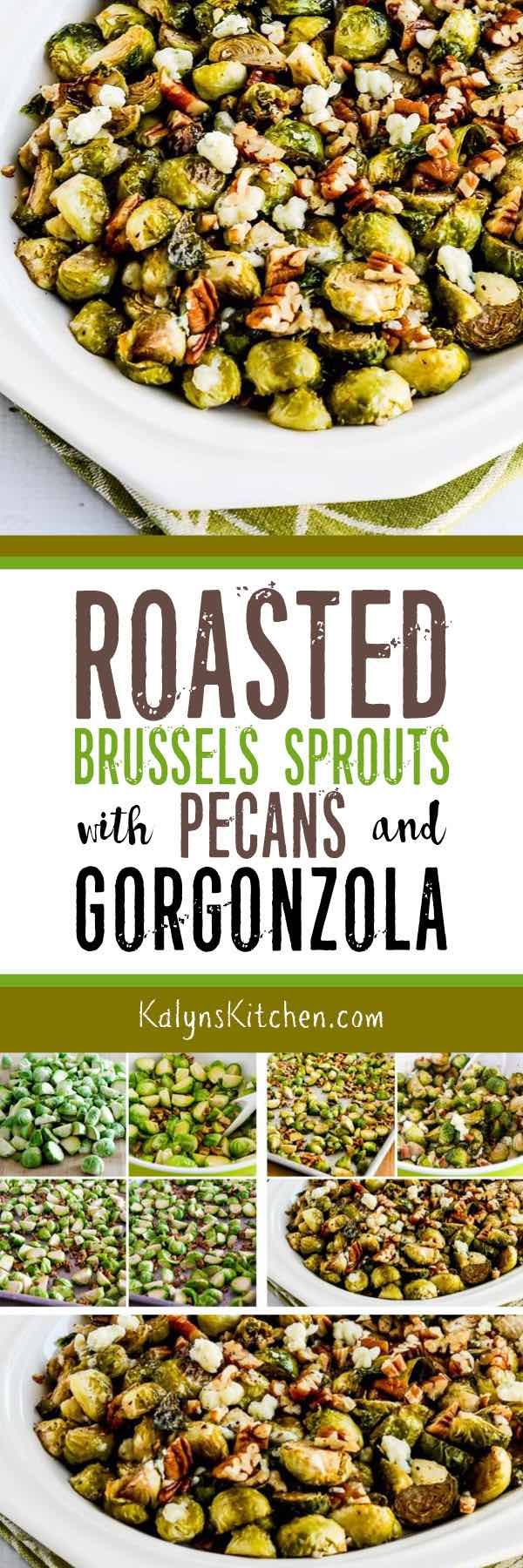Roasted Brussels Sprouts with Pecans and Gorgonzola are a side dish that will make any brussels sprouts fan swoon! You can skip the Gorgonzola and just toss the roasted brussels sprouts and pecans with butter if you prefer. However you do it, you'll love this side dish that's low-carb, Keto, gluten-free, and could be South Beach Diet friendly for a special treat. [found on KalynsKitchen.com] #BrusselsSprouts #RoastedBrusselsSprouts #RoastedBrusselsSproutsPecans #LowCarbSideDish