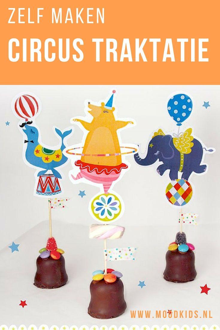 Maak zelf deze vrolijke en originele traktatie van chocolade kussen. Natuurlijk met gratis circus printables.
