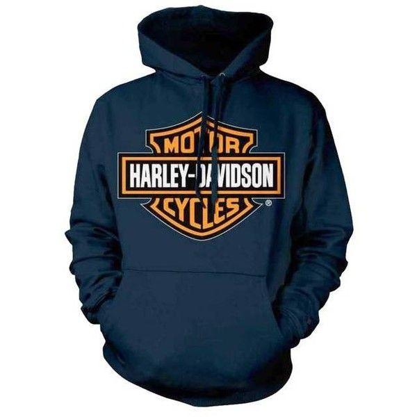 Harley-Davidson Men's Orange Bar Shield Navy Pullover Sweatshirt... ($49) ❤ liked on Polyvore featuring men's fashion, men's clothing, men's hoodies, men's sweatshirts, mens hoodie, mens hoodie sweatshirt, mens navy blue hoodie, mens hooded sweatshirts and mens hoodies and sweatshirts