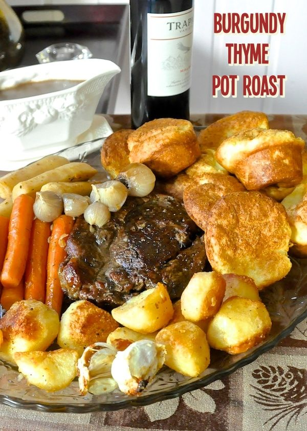 Burgundy Thyme Pot Roast with Yorkshire Pudding Popovers and English Style Roasted Potatoes - Sunday dinner comfort food heaven.