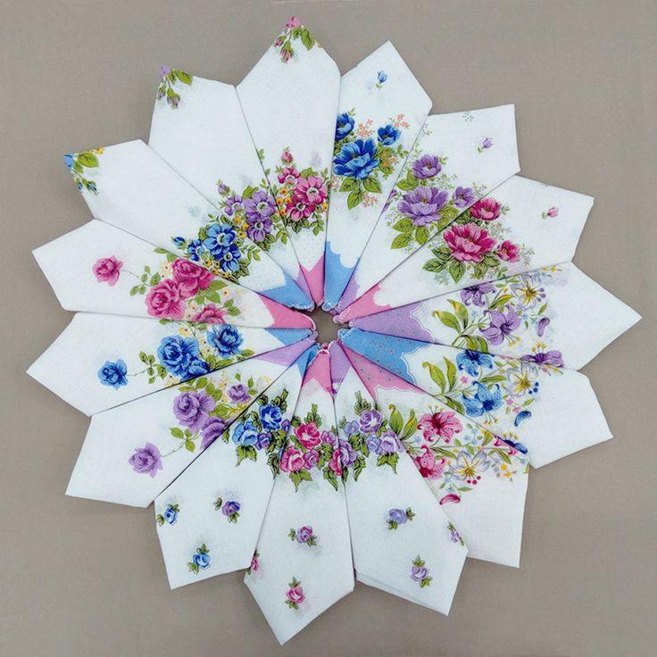 20pcs/lot Lady Plain Floral 28*28cm Cotton Handkerchiefs Women Wedding Hankies Square Paisley Hanky Women's Pocket Square