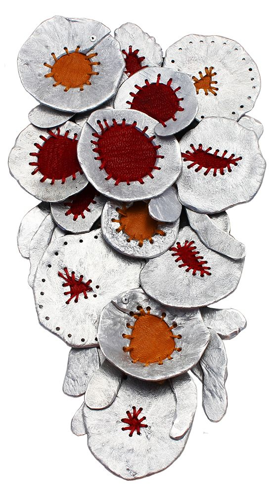 Olga Starostina, Untitled Leather, recycled aluminum, thread; 7 x 4 x ½ inches Inspired by: Faux-Enamel Pendants Value: $550
