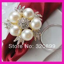 100 шт./лот цветок перл и горный хрусталь салфетка кольцо, держатели для салфеток(China (Mainland))