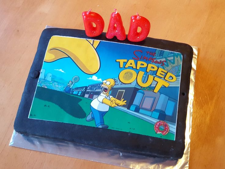 "Ipad with ""Tapped Out"" loading screen - slight cheat as I ordered photo printed on icing online! 😁"