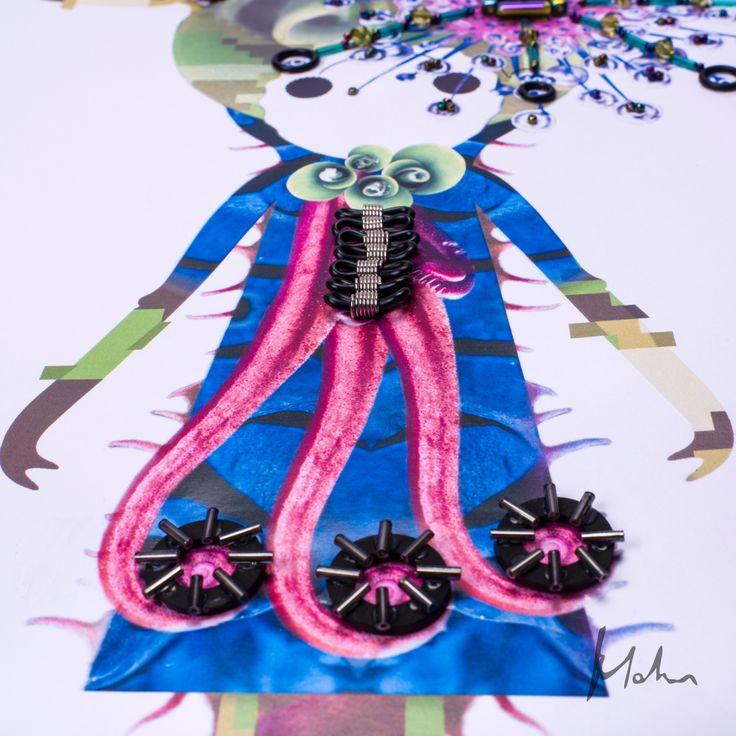 MyMod  || HeadTurban ||  fa parte della collezione di bambole MyMod è stata realizzata con tecnica mista che consiste in un collage di stampe digitali e con l'applicazione di elementi in gomma e charms per valorizzarne ed abbellirne l'immagine finale.