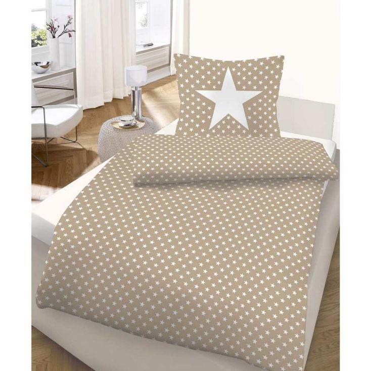 Ido - Juego de funda de edredón y almohada (135 x 200 cm y 80 x 80 cm, satén mako ropa de cama Star arena marrón Natural color blanco 664277: Amazon.es: Hogar