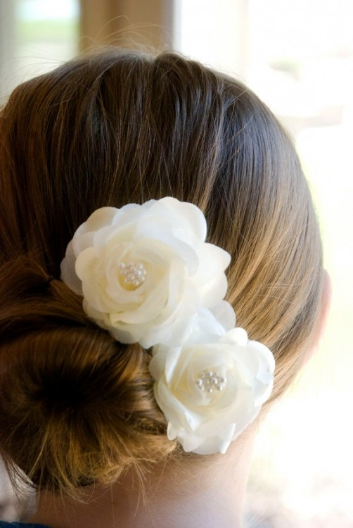 Real Flower Bridal Hair Accessories : Ivory wedding hair flowers clips vintage inspired