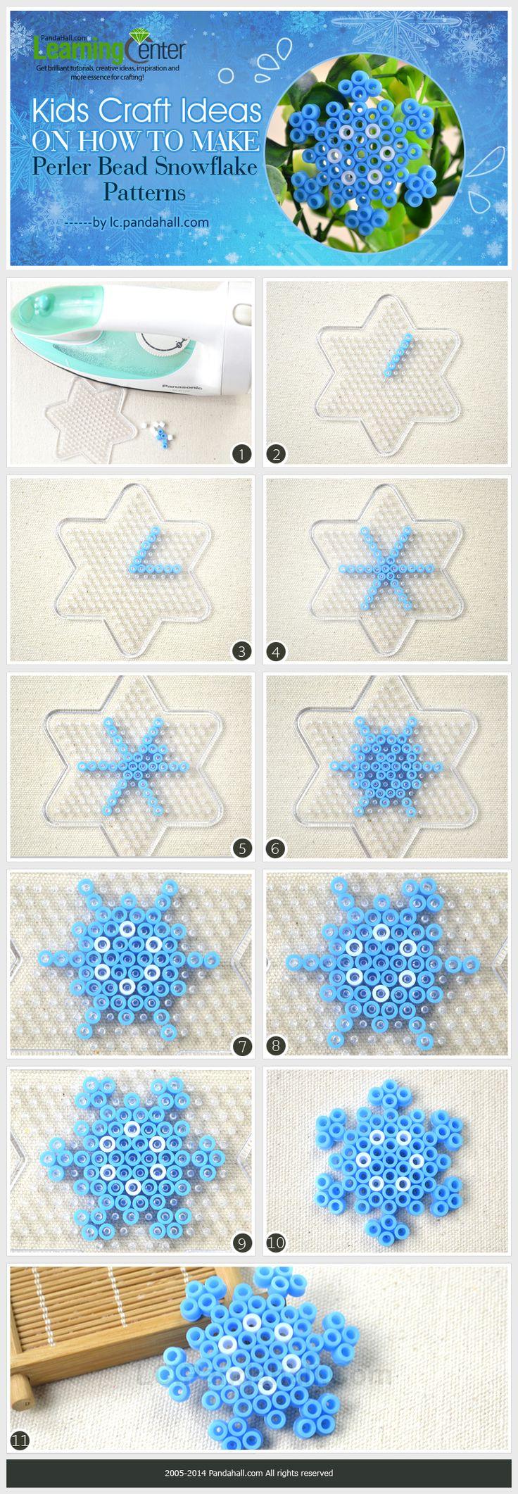 Kids Craft Ideas on How to Make Perler Bead Snowflake Patterns