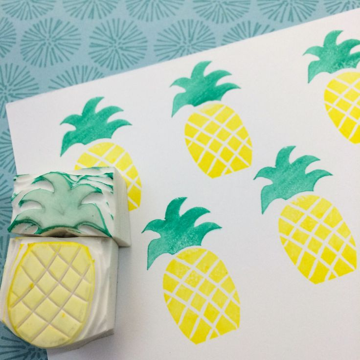 Handmade #pineapple #rubberstamp from #WahSoSimple's DIY Rubber Stamp Kit.