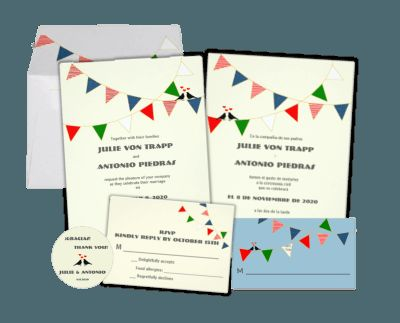 Bunting   US Mexico Italy Bilingual Wedding Invitation Collection    Multiculturally Wed