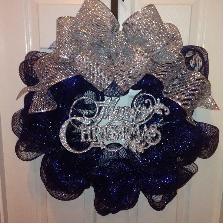 Navy blue & silver deco mesh Christmas wreath
