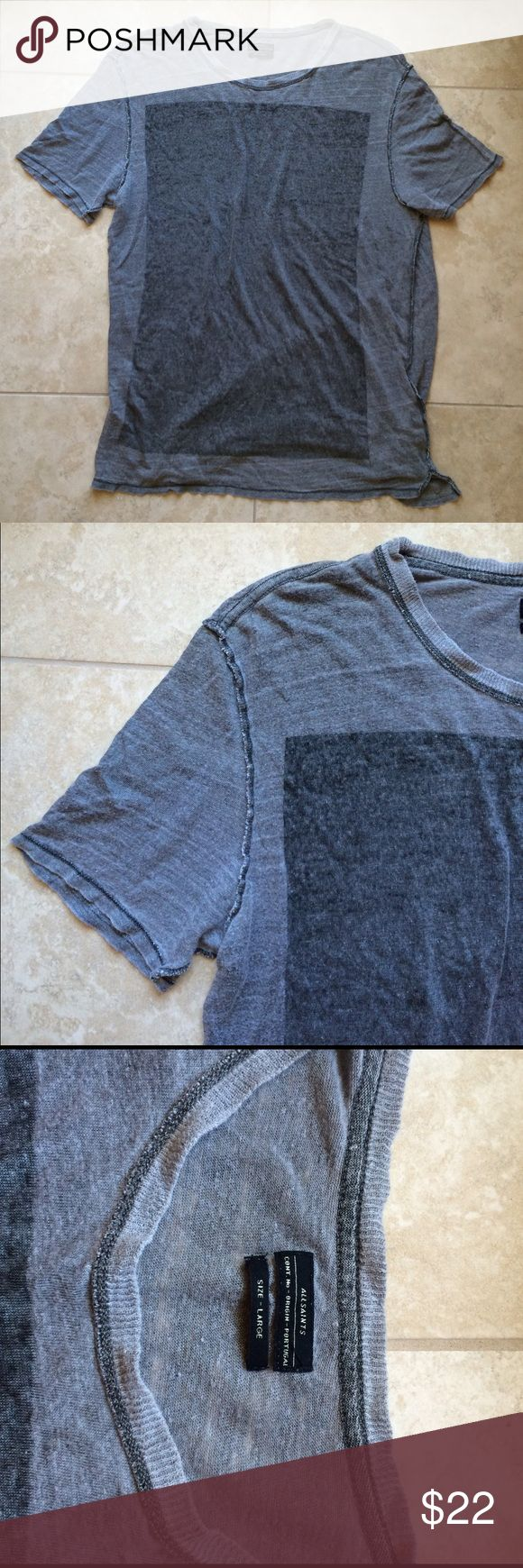 """All Saints mens/unisex linen tshirt Fabric tag no longer attached. All Saints gray lightweight linen mens tshirt but can be worn by a woman too, would look cute oversized. Mens size large. Nice preowned condition. Made to have a worn in look to it. Inside out seaming detailing. Length 30"""". Pit to pit 22"""". Price firm!!! All Saints Shirts"""