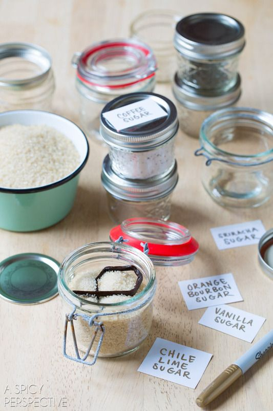Homemade food gift idea for Mother's Day: Gourmet flavored sugars. We'd love to get this!