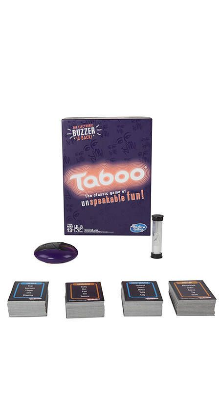 It's the exciting Taboo game that keeps players on the edge of their seats! Players try to get teammates to say the Guess word on the card without using any of the Taboo words in the clues. If the describer says a Taboo word listed on the card while giving the clues, they'll get interrupted with the electronic buzzer and lose a turn. Players keep the cards that were guessed correctly, and the team with the most cards wins the game. With 400 double-sided cards in this Taboo game, playe...