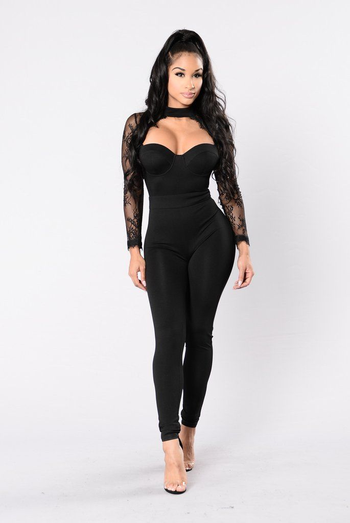 - Available in Black, Burgundy, Olive - Jumpsuit - Lace Trim - Exposed Chest Detail - Long Sleeve - 95% Polyester 5% Spandex
