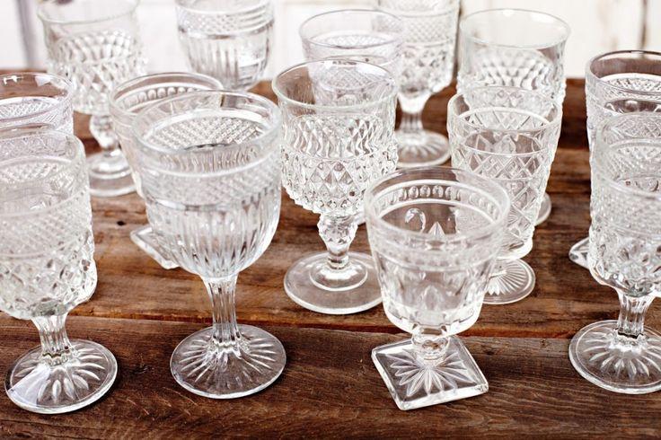 charming mis-matched vintage goblets | Pretty Vintage Rentals