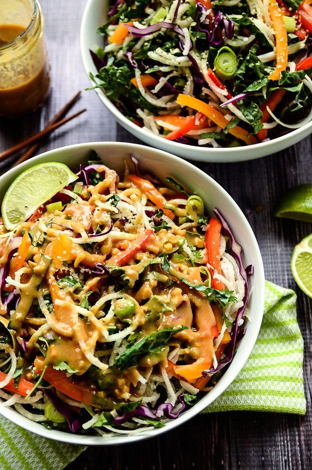Colorful Jicama Noodle Salad with Tahini-Ginger Dressing | 19 Delicious Veggie Noodles To Make This Summer
