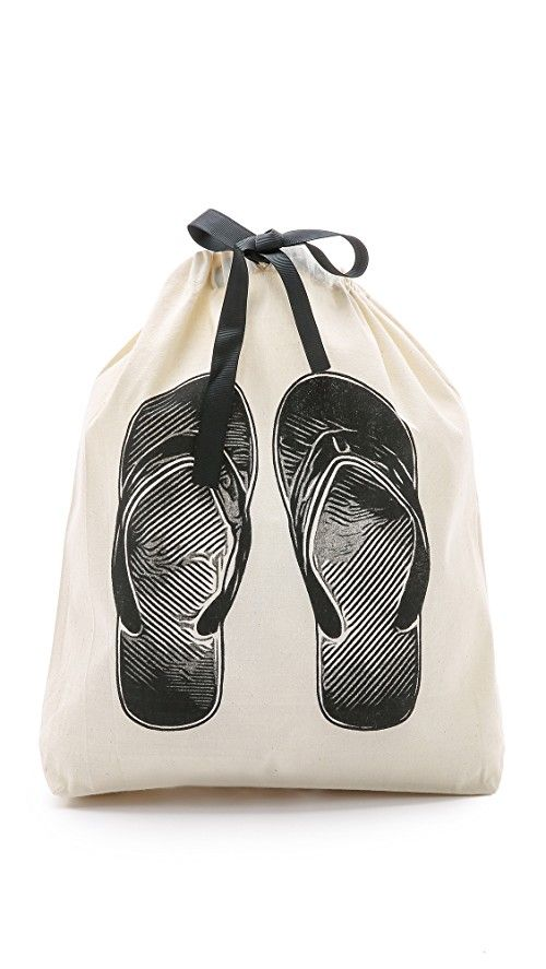 Bag-all Flip Flop Organizing Bag | This simple Bag-all organizer bag features a flip flops graphic. Grosgrain drawstring. Fabric: Canvas. Imported, China. Measurements |  Height: 11.5in / 29.5cm Length: 13.5in / 34cm