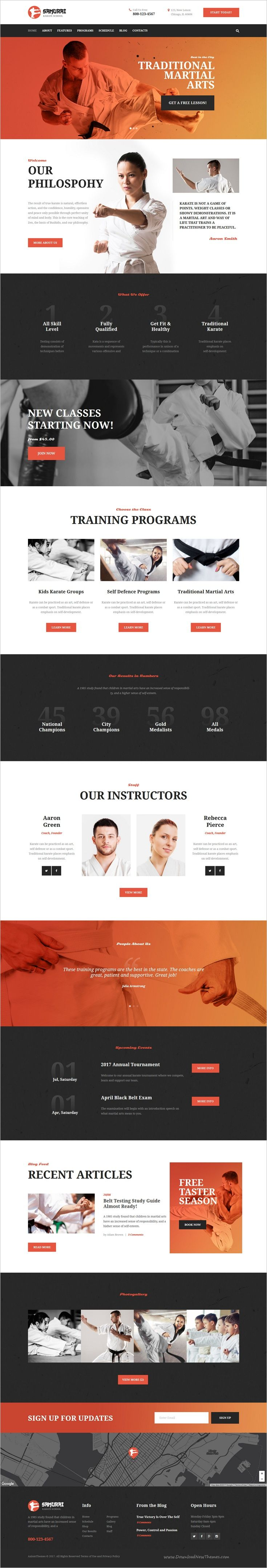 Samurai is modern and elegant design responsive 3in1 #WordPress theme for #webdesign sports industry, #martial arts, #karate school, fitness clubs or personal trainers website download now➩ https://themeforest.net/item/samurai-karate-school-and-fitness-center/19235121?ref=Datasata