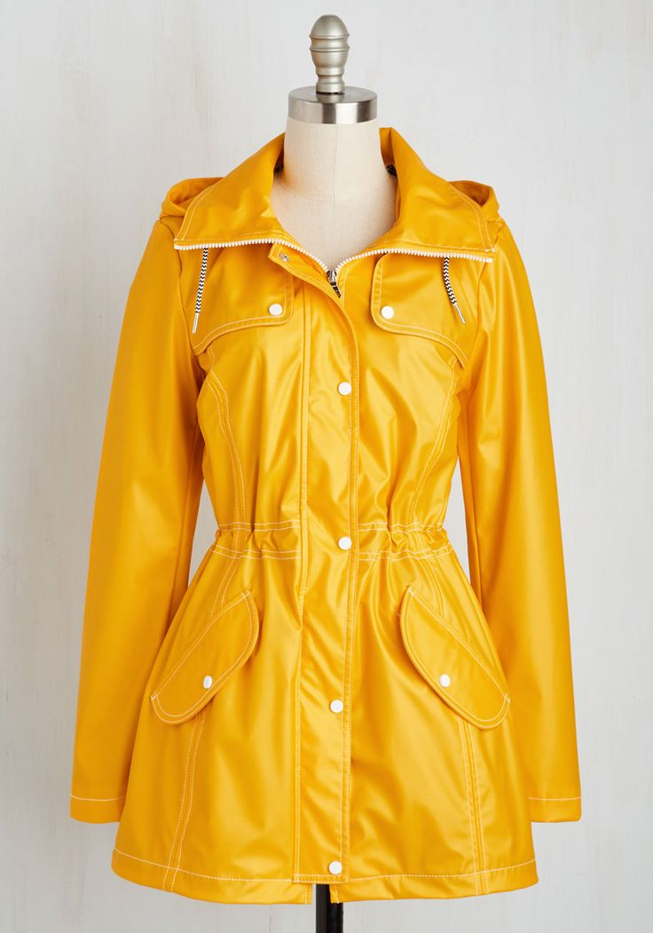 Slicker than Water Rain Coat. When a cloudy sky seeks to shake up your plans, simply zip into this trusty yellow raincoat and go forth with your itinerary! #yellow #modcloth