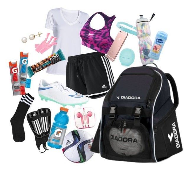 """""""Whats in my soccer bag?"""" by mlainezrubi ❤ liked on Polyvore featuring adidas, Under Armour, NIKE, Diadora, Topshop, Victoria's Secret, PhunkeeTree, Suave, France Luxe and Honora"""