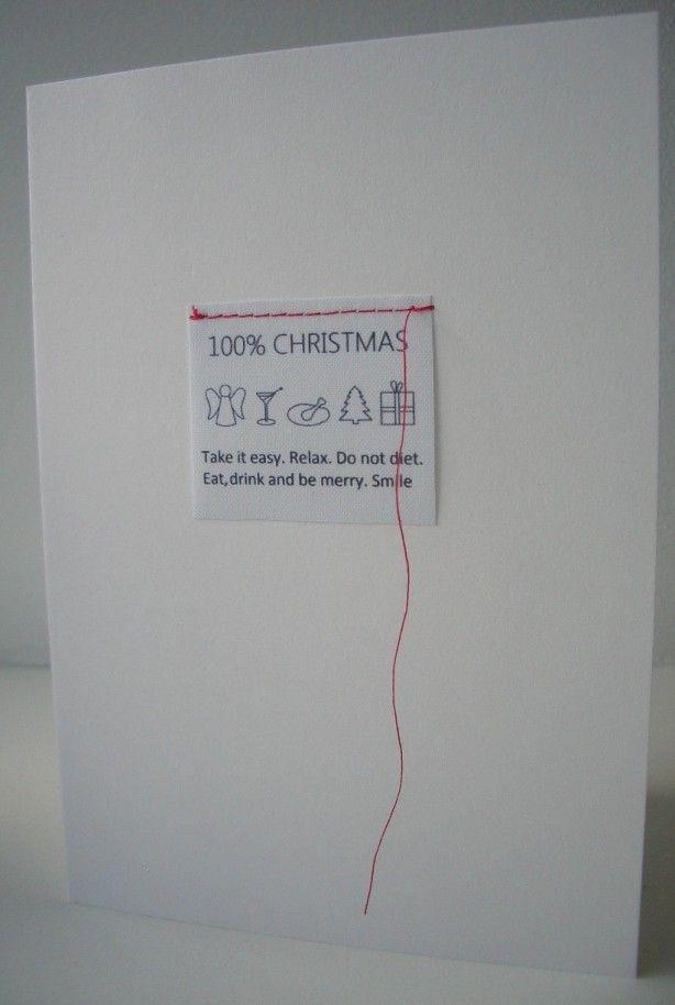 Kerstkaart van BINNEN. geïnspireerd op een waslabel. Nu te koop met rode enveloppe.