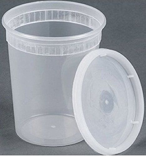 32oz plastic soup/Food container with lids (240 Pack)