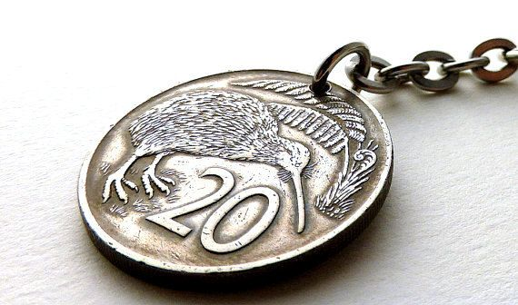 New Zealand Coin keychain Kiwi Bird Bird keychain by CoinStories