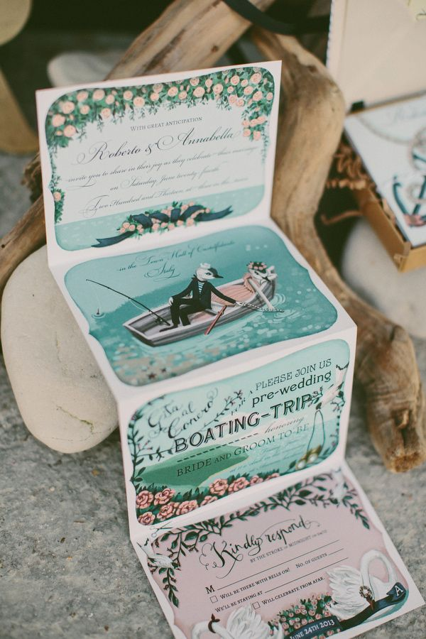 illustrated, folding wedding invitation // photo by Cinzia Bruschini // invitation by Shhh My Darling (These are amazing!)
