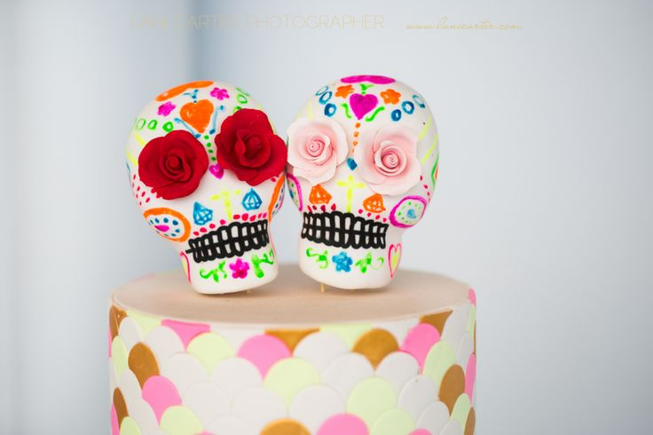 Sugar skull wedding cake by ideas in icing. www.lanicarter.com