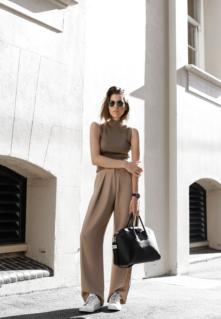 modern legacy, fasion blog, street style, neutral, tan, SABA, sneakers, Givenchy Antigona, wide leg pants, off duty, sport luxe (1 of 1)