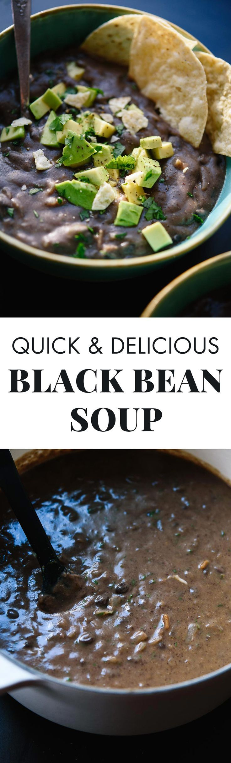 This popular black bean soup recipe is easy to make with canned beans and tastes SO fresh and delicious! It's going to be your new favorite soup. Vegan and gluten free.